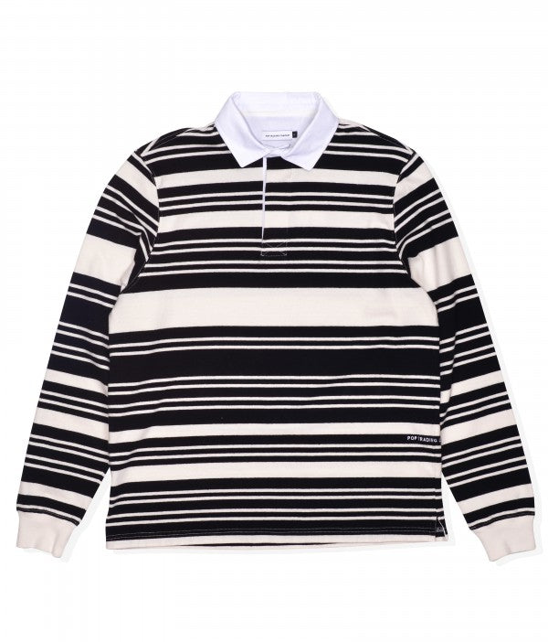 POP Striped Rugby Shirt | Off White/Black