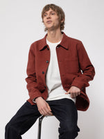 NUDIE JEANS Barney Worker Jacket in Brick Red LEO BOUTIQUE