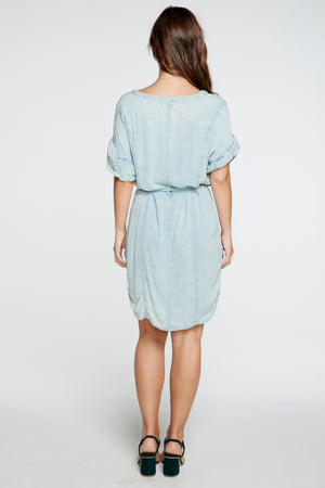 Rolled Sleeve Dress | Powder blue