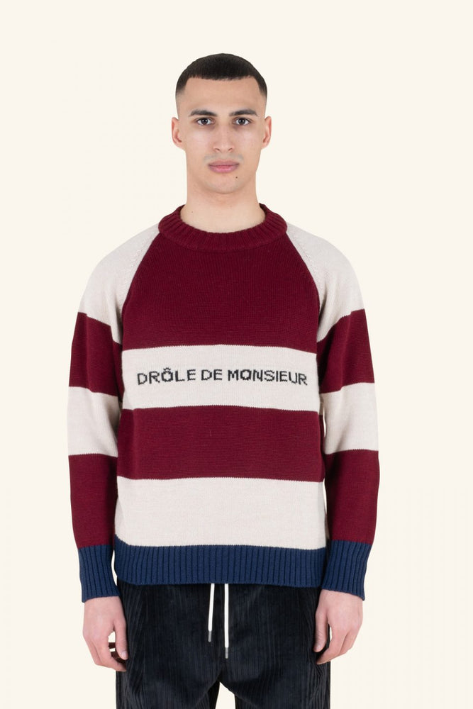 Striped Crewneck Sweater | Burgundy
