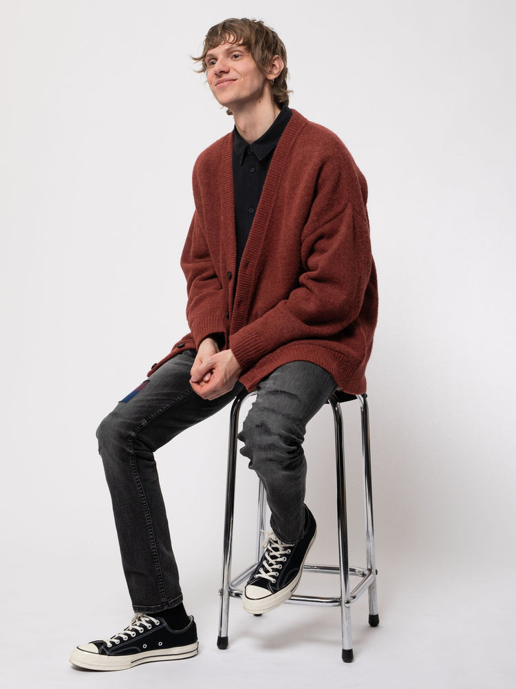 Manne Alpaca Cardigan | Brick Red