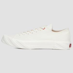 Laced Low Top Carbon Coated Canvas | White