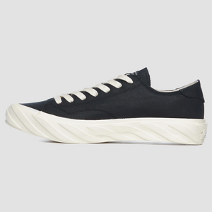 Laced Low Top Carbon Coated Canvas | Black