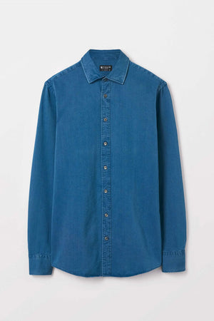 Fridolf Cotton Shirt | Blue - Leo Boutique