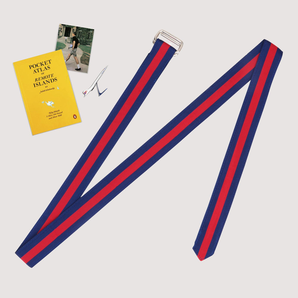 Extra Long Ribbon Belt | Navy/Red