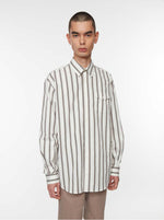 Shirt Oversized Poplin Stripe | White/Black/Khaki