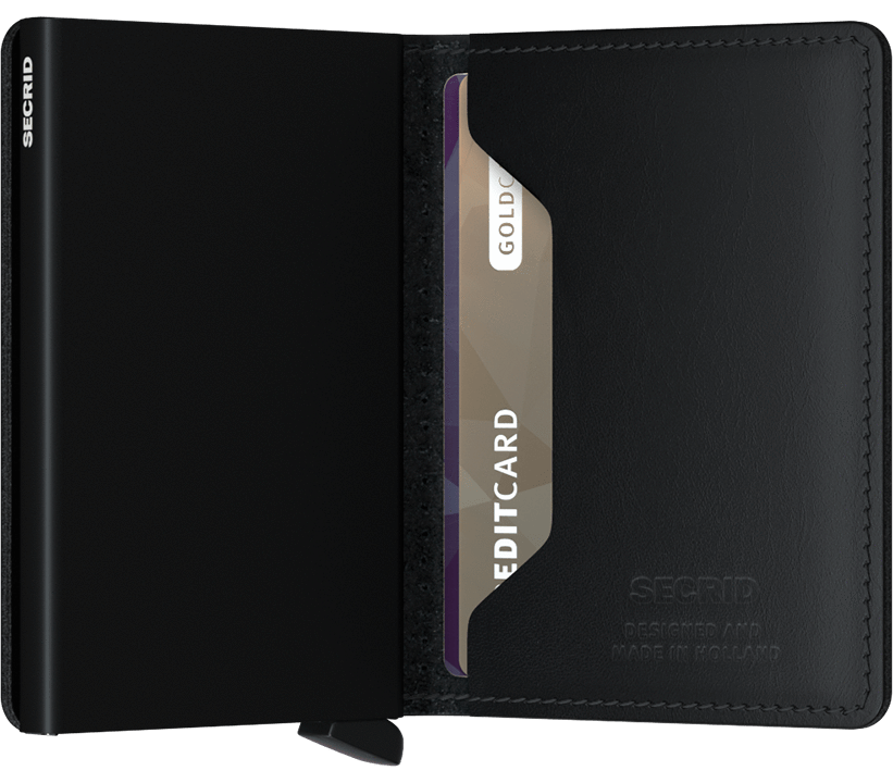 Slim wallet | Perforated  Black