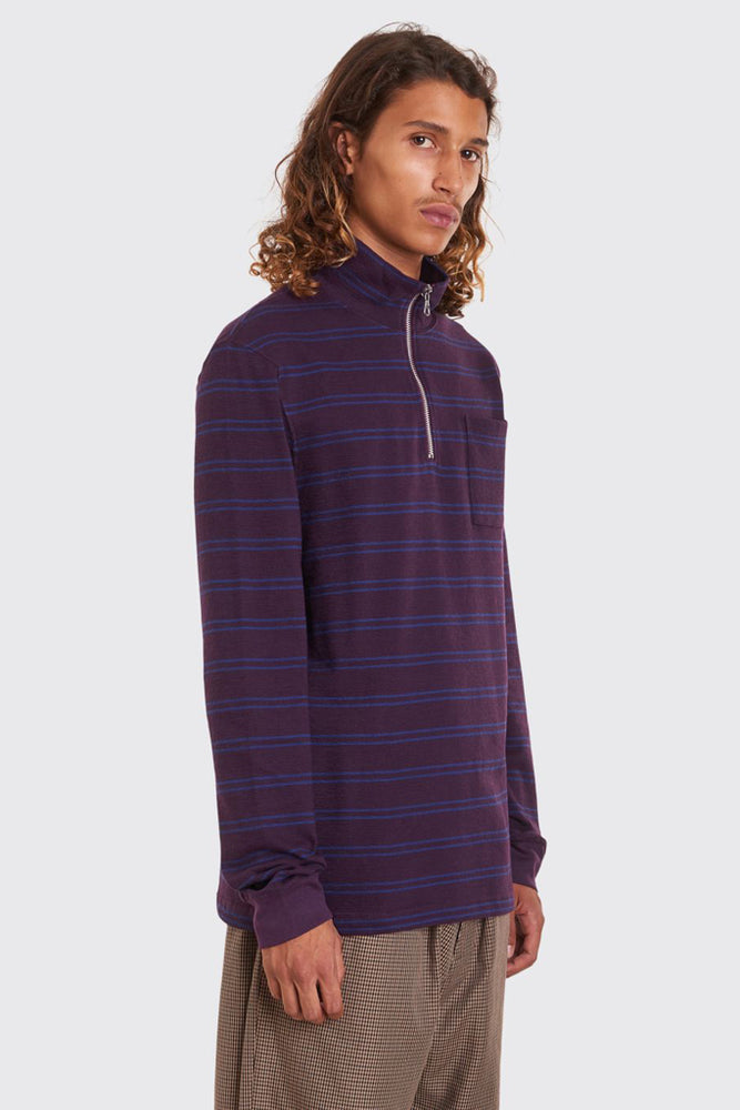 Half Zip Stripe Sweatshirt | Plum/Navy - Leo Boutique