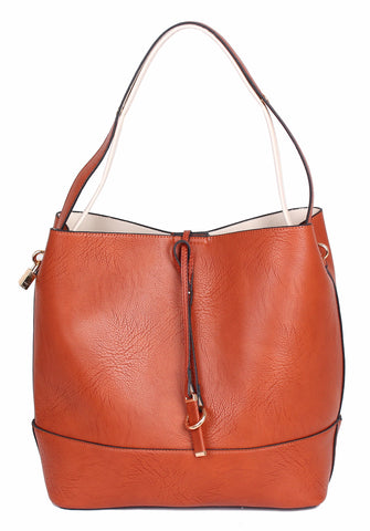 71108 Chic Faux Leather 2-In-1 Cross-body Shoulder Bucket Hobo Handbag Clearance