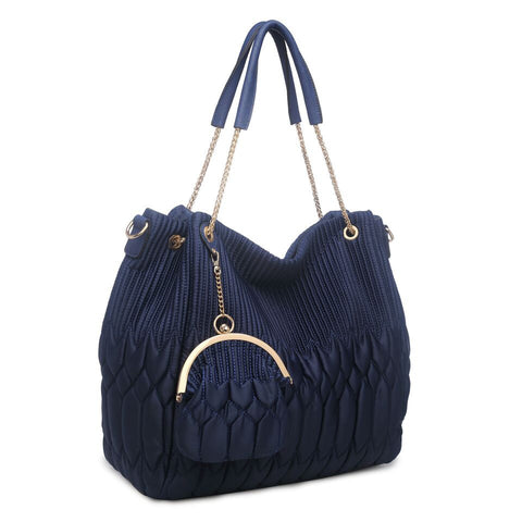 78095 2-Pcs Large Satin Faux Leather Shopping Shoulder Tote Handbag W/ Clutch Purse New Arrivals - FFANY GIFTS - 8