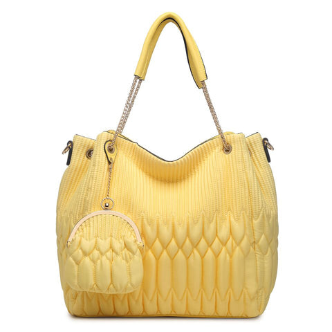 78095 2-Pcs Large Satin Faux Leather Shopping Shoulder Tote Handbag W/ Clutch Purse New Arrivals