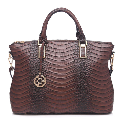 79084 Alligator Embossed Faux Leather Cross-body Shopping Satchel Purse Clearance Free Shipping