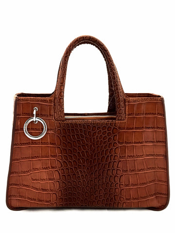 A1048 Alligator Embossed Genuine Leather Cross-body Shopping Tote SALE