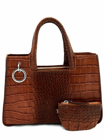 A1048 Alligator Embossed Genuine Leather Cross-body Tote Handbag With Coin Purse New Arrivals