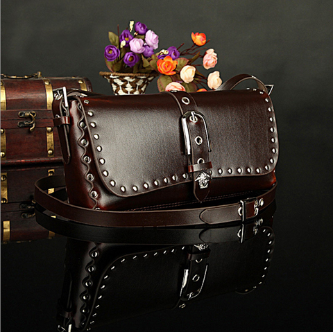 A2010 Classic Belt Buckle Decorted Genuine Leather Cross-body Shoulder Handbag New Arrivals