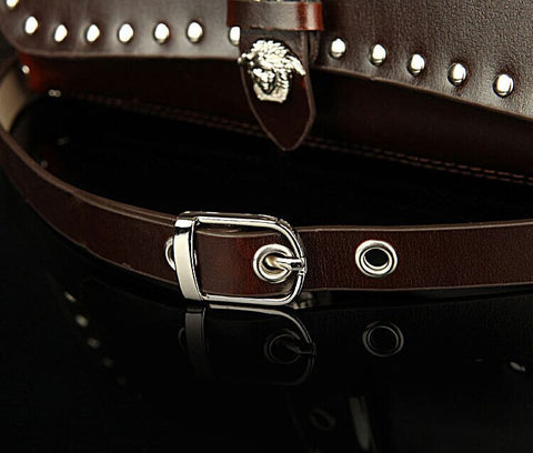A2010 Classic Belt Buckle Decorted Genuine Leather Cross-body Shoulder Handbag New Arrivals - FFANY GIFTS - 7