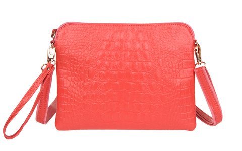 A4009 Classy Alligator Embossed Genuine Leather Cross-body Envelop Clutch Purse SALE