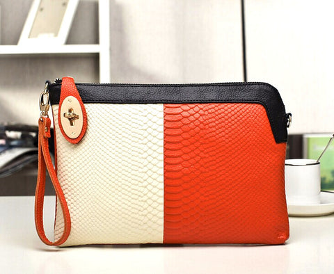 A4010 Chic Two Tones Python Embossed Genuine Leather Cross-body Clutch Purse SALE