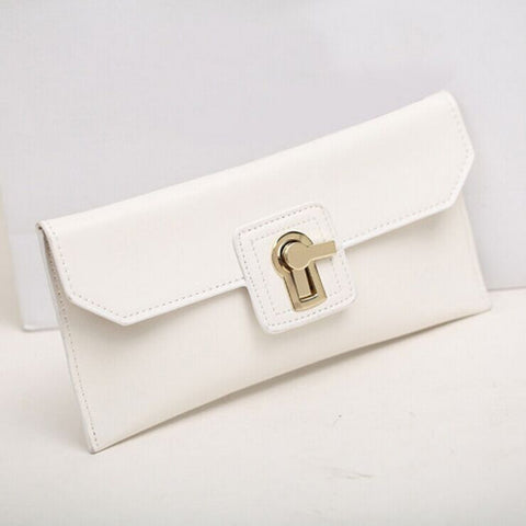 A4013 Small Genuine Leather Turn Lock Cross-body Party Dinner Clutch SALE