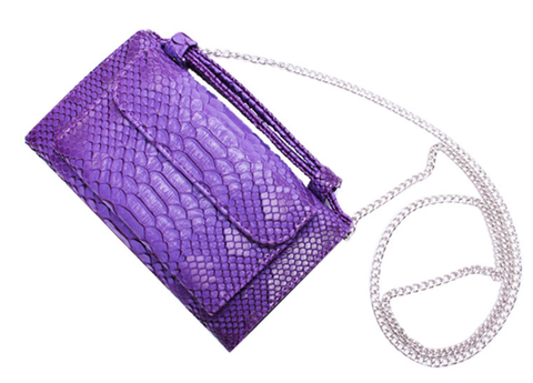 A4037 Chic Python Embossed Genuine Leather Cross-body Bi-fold Handbag Wallet SALE