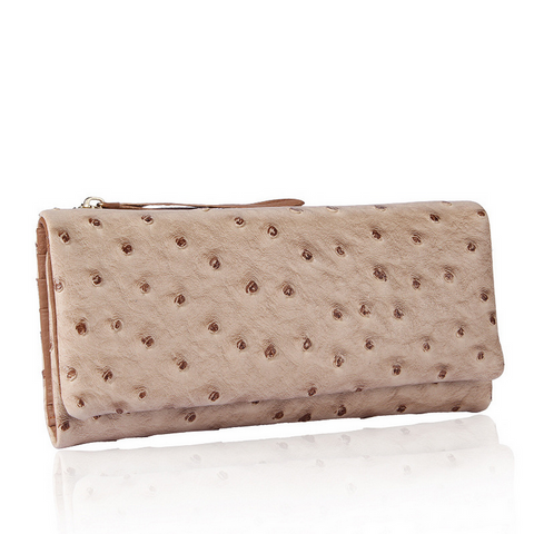 A4039 Chic Long Tri-fold Soft Ostrich Embossed Genuine Leather Wallet SALE