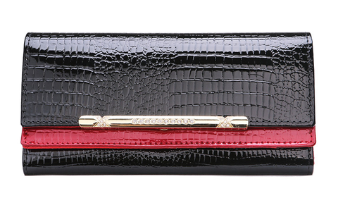 A4042 Classy Rhinestone Alligator Embossed Genuine Patent Leather Bi-fold Wallet New Arrivals Free Shipping - FFANY GIFTS - 6