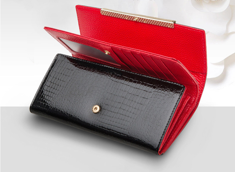 A4042 Classy Rhinestone Alligator Embossed Genuine Patent Leather Bi-fold Wallet New Arrivals Free Shipping - FFANY GIFTS - 11