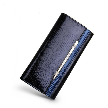 A4042 Classy Rhinestone Alligator Embossed Genuine Patent Leather Bi-fold Wallet New Arrivals Free Shipping - FFANY GIFTS - 5