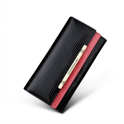A4042 Classy Rhinestone Alligator Embossed Genuine Patent Leather Bi-fold Wallet New Arrivals Free Shipping - FFANY GIFTS - 2