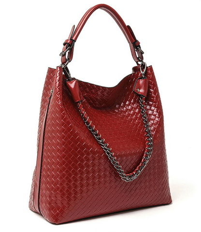 A5047 2-IN-1 Braided Embossed Genuine Leather Shoulder Cross-body Hobo Bucket Purse New Arrivals - FFANY GIFTS - 3