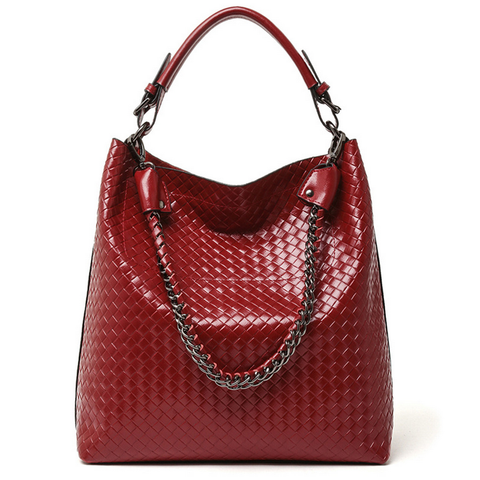 A5047 2-IN-1 Braided Embossed Genuine Leather Shoulder Cross-body Hobo Bucket Purse New Arrivals
