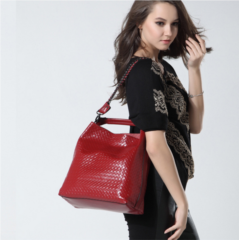 A5047 2-IN-1 Braided Embossed Genuine Leather Shoulder Cross-body Hobo Bucket Purse New Arrivals - FFANY GIFTS - 11
