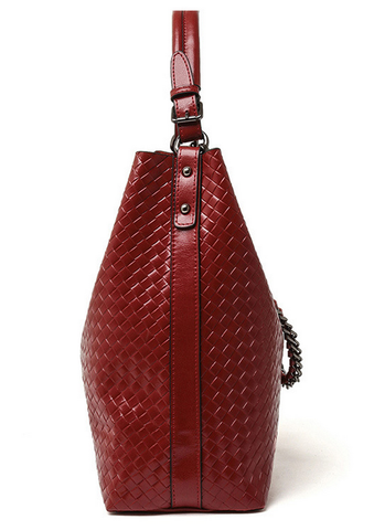 A5047 2-IN-1 Braided Embossed Genuine Leather Shoulder Cross-body Hobo Bucket Purse New Arrivals - FFANY GIFTS - 4