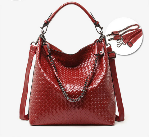 A5047 2-IN-1 Braided Embossed Genuine Leather Shoulder Cross-body Hobo Bucket Purse New Arrivals - FFANY GIFTS - 6