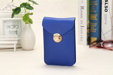 C2003A Fashion Checker Faux Leather Cross-body Mobile / Cell Phone Clutch Shopping Purse New Arrivals - FFANY GIFTS - 4