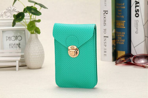 C2003A Fashion Checker Faux Leather Cross-body Mobile / Cell Phone Clutch Shopping Purse New Arrivals