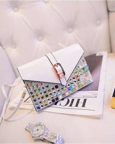 C2006 Python Embossed Faux Leather Multicolor Rhinestone Wide Cross-body Cell Phone Clutch Purse SALE Free Shipping