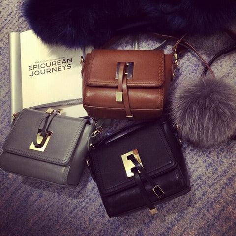 C3003 Cute Stylish Faux Fur Key-chain Ball Decorate Faux Leather Cross-body Shopping Purse Clearance