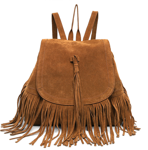 C8002 Large Faux Suede Fringe Tassels Backpack New Arrivals