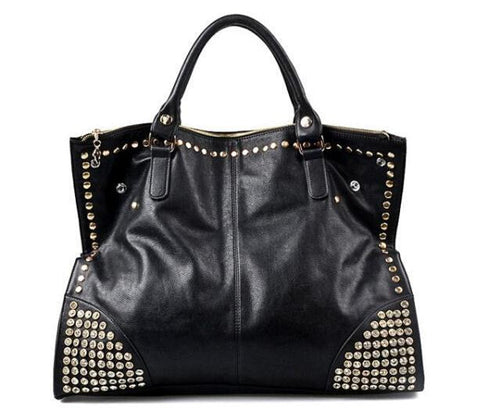 C5004 Large Black Chic Rhinestones & Studs Fashion Cross-body Shopping Tote Purse Clearance Free Shipping