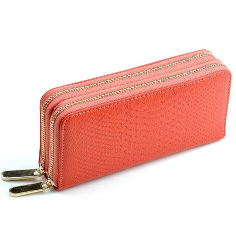 A4025 Classy Long Python-Embossed Genuine Leather Double Zips Around Wallet SALE