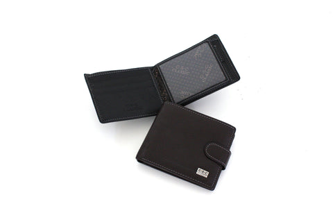 277 FFANY Exclusive Pebble Embossed Genuine Leather Bi-fold Men's Wallet Clearance