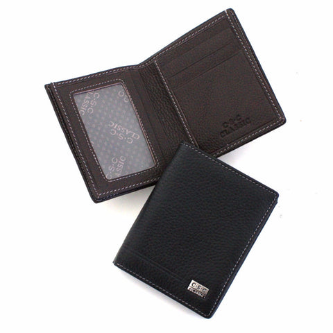 388 FFANY Exclusive Pebble Embossed Genuine Leather Bi-fold Wallet Clearance