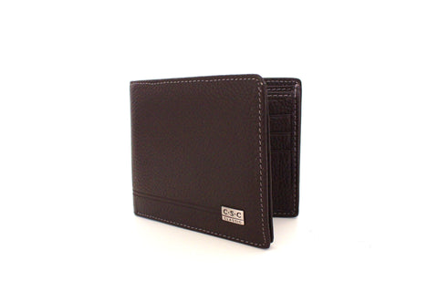 240 FFANY Exclusive Pebble Embossed Genuine Leather Men's Bi-fold  Wallet Clearance