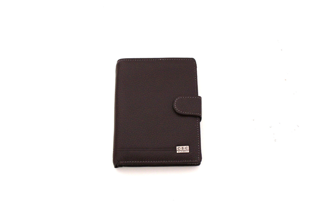 513 FFANY Exclusive Genuine Leather Tri-fold ID Coins Passport Wallet Black  Brown - FFANY b9a45e85cdc22