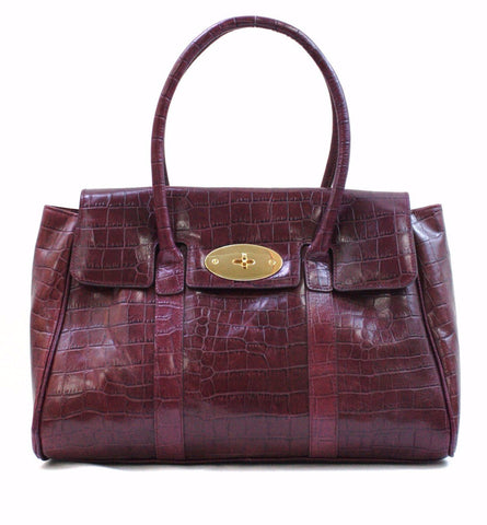 3672110 FFANY Exlusive Classy Alligator Embossed Genuine Leather Tote Shoulder Handbag