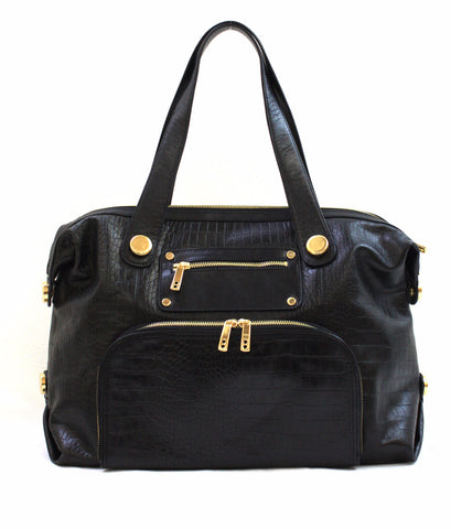 8685420 FFANY Exclusive Large Black Alligator Embossed Genuine Leather Duffle Shoulder Tote Purse