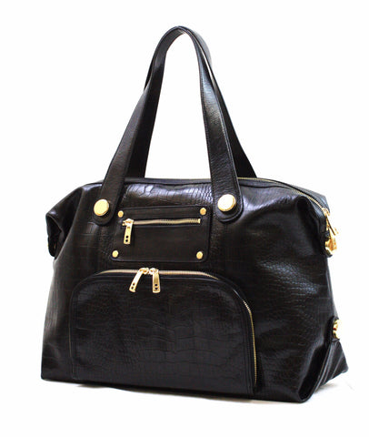 8685420 FFANY Exclusive Large Black Alligator Embossed Genuine Leather Duffle Shoulder Tote Purse SALE
