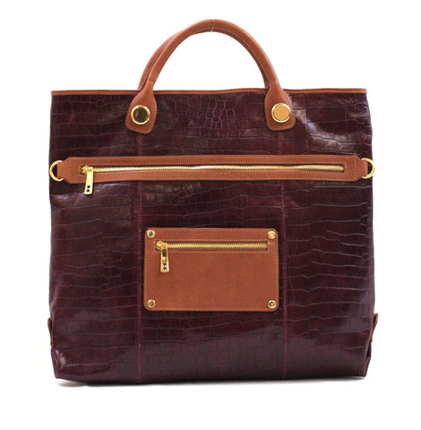 8685450 FFANY Exclusive Alligator Embossed Genuine Leather Large Elegant Shopping Tote Purse SALE