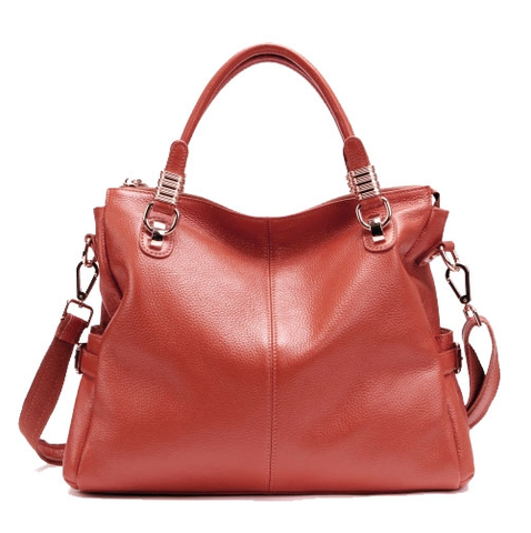 A5039 Classy Pebbled Embossed Genuine Leather Shopping Cross-body Tote Purse - FFANY GIFTS - 4